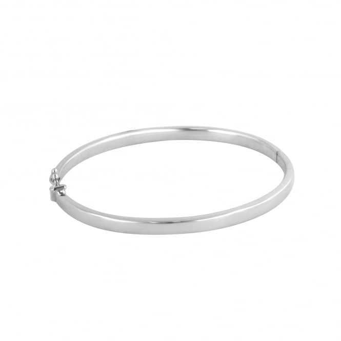 9ct White Gold Solid Polished Side Hinged Bangle