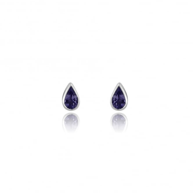 9ct White Gold Teardrop Tanzanite Stud Earrings