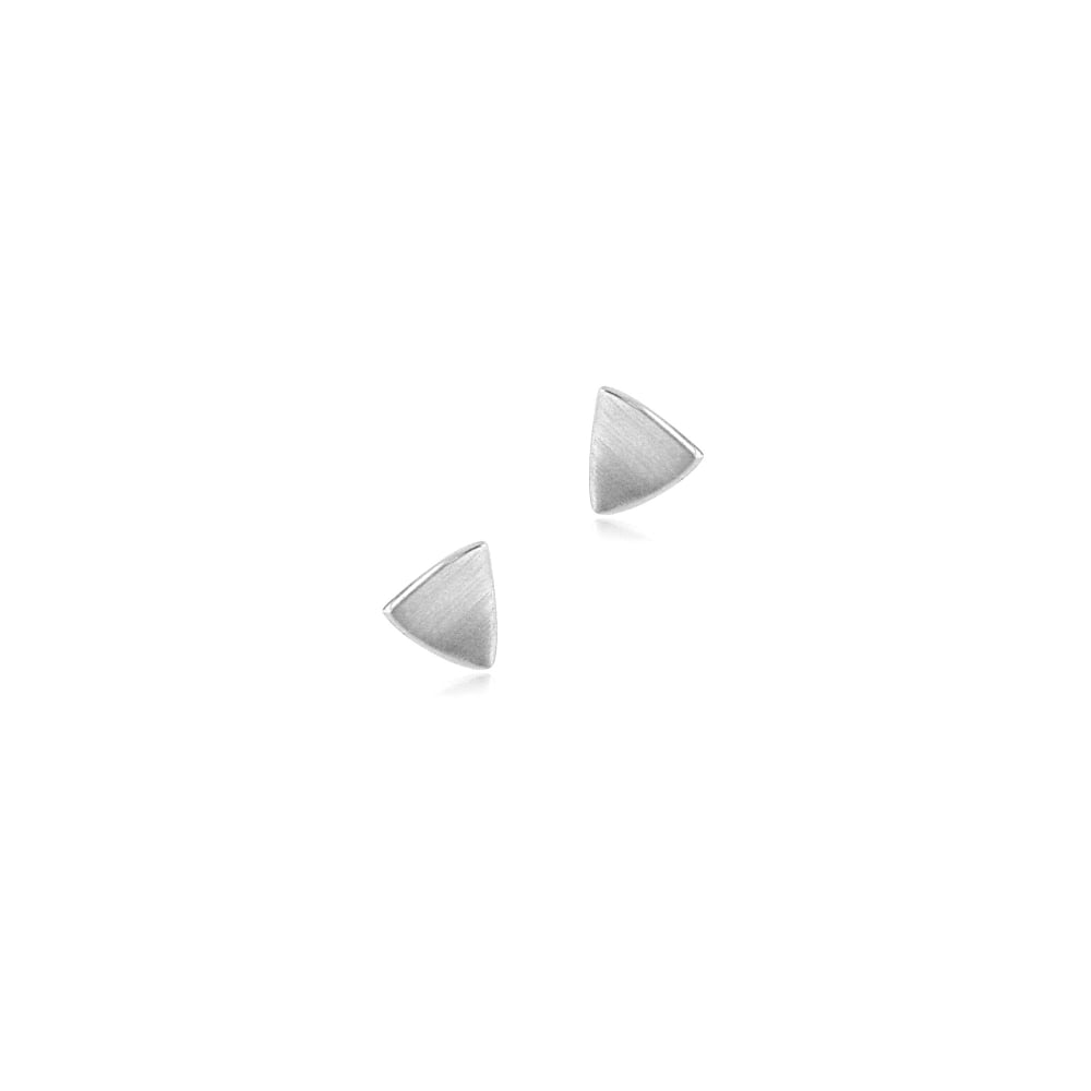 9ct White Gold Triangle Satin Finish Stud Earrings EWT32227 9abb2b9ec