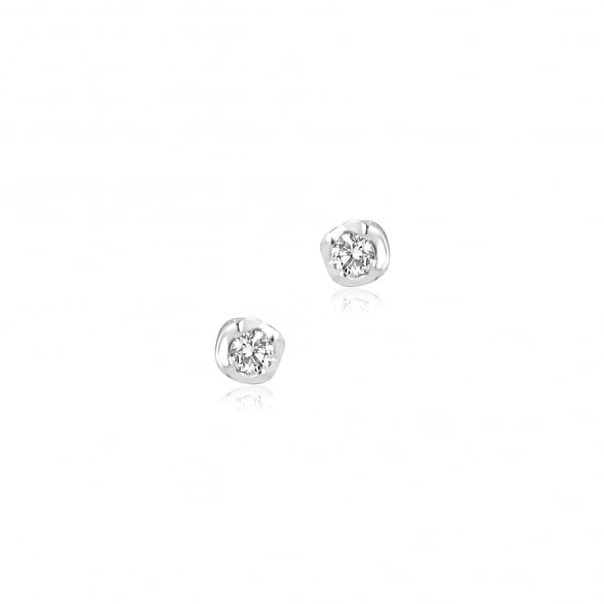 9ct White Gold Wave Setting Diamond Stud Earrings EWT31260