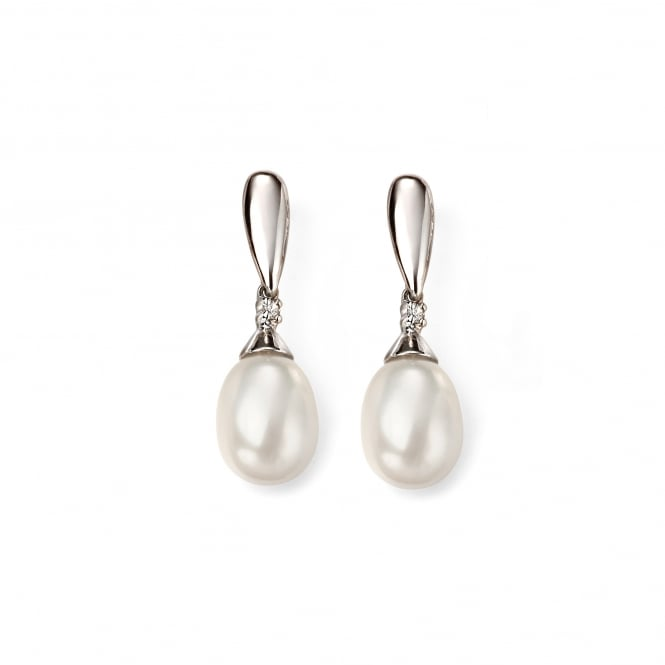 9ct White Gold White Freshwater Pearl and Diamond Drop Earrings