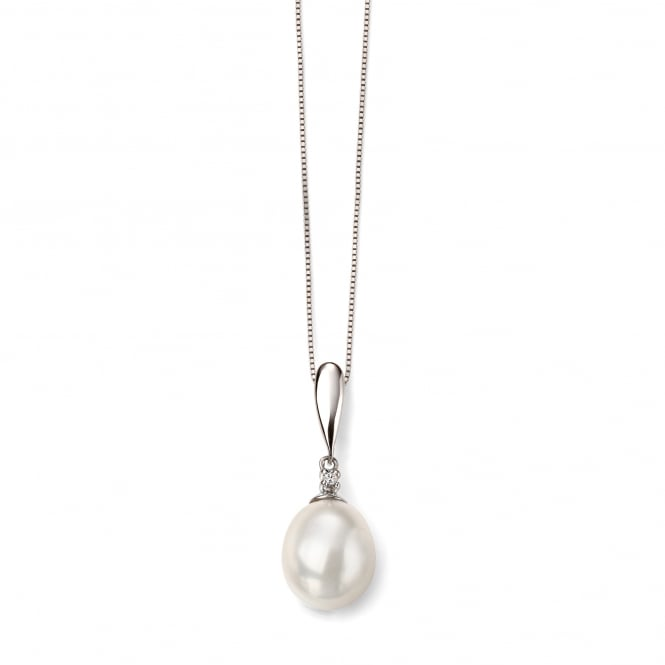 9ct White Gold White Freshwater Pearl and Diamond Necklace