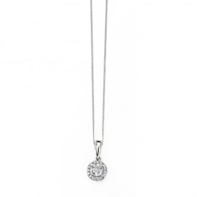 9ct White Gold White Topaz Cluster Halo Necklace