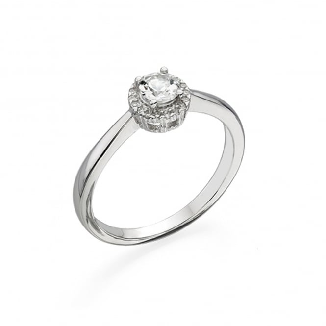 9ct White Gold White Topaz Cluster Halo Ring