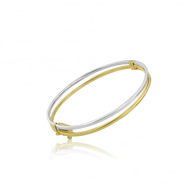 9ct Yellow and White Gold Hinged Bangle
