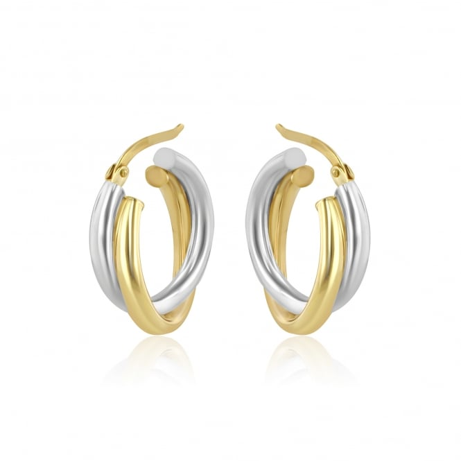 9ct Yellow and White Gold Hinged Top Hoop Earrings