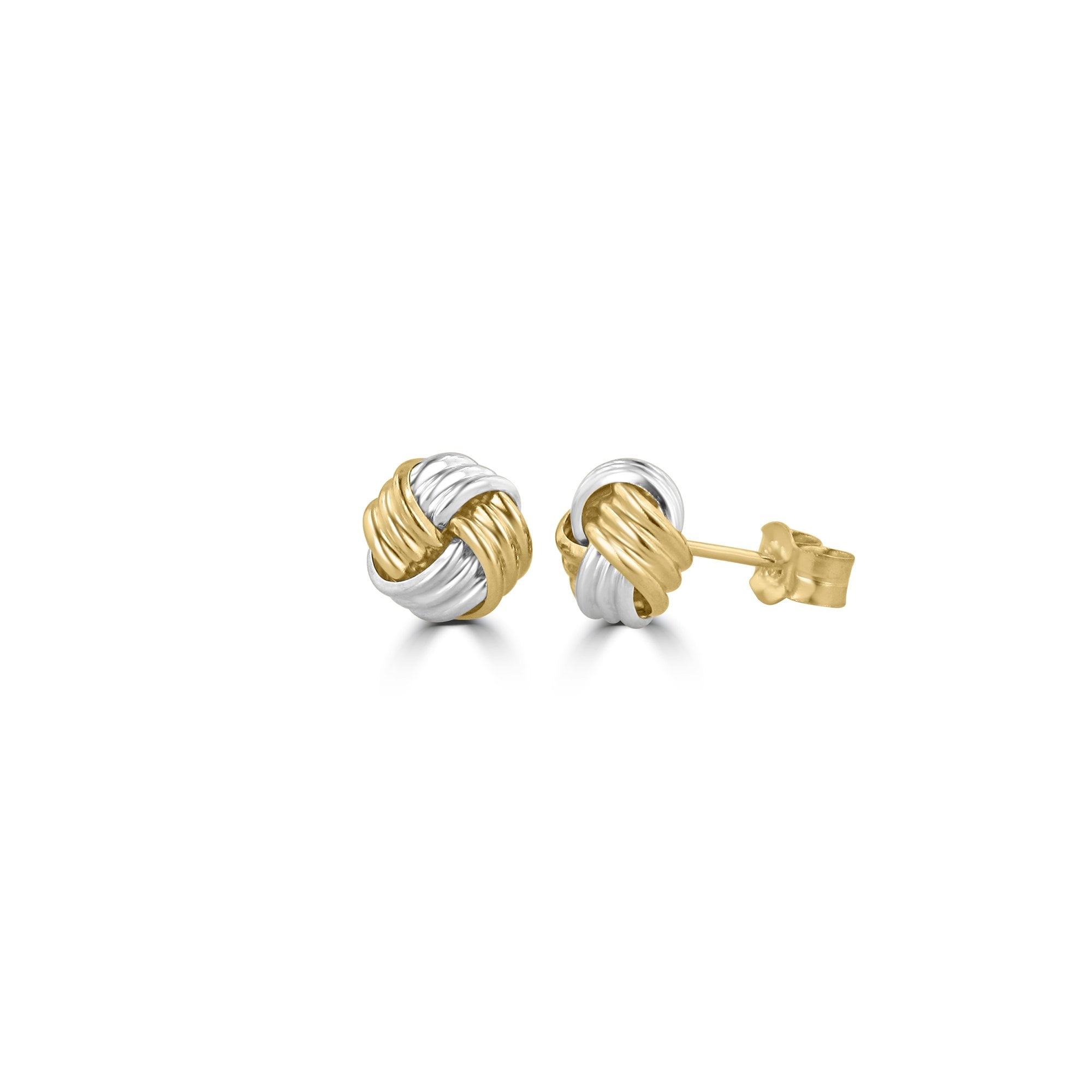 2579549bb 9ct Yellow and White Gold Knot Stud Earrings - Womens from Avanti of  Ashbourne Ltd UK