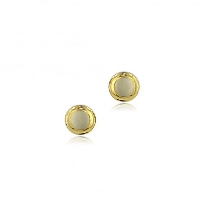 9ct Yellow and White Gold Round Stud Earrings EMT36105