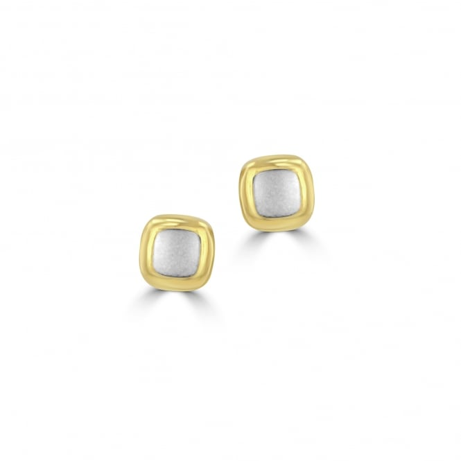 9ct Yellow and White Gold Square Studs EMT32222