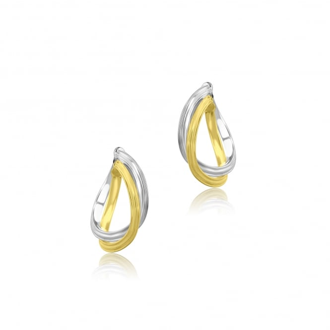 9ct Yellow and White Gold Twisted Hoop Earrings EMW36180