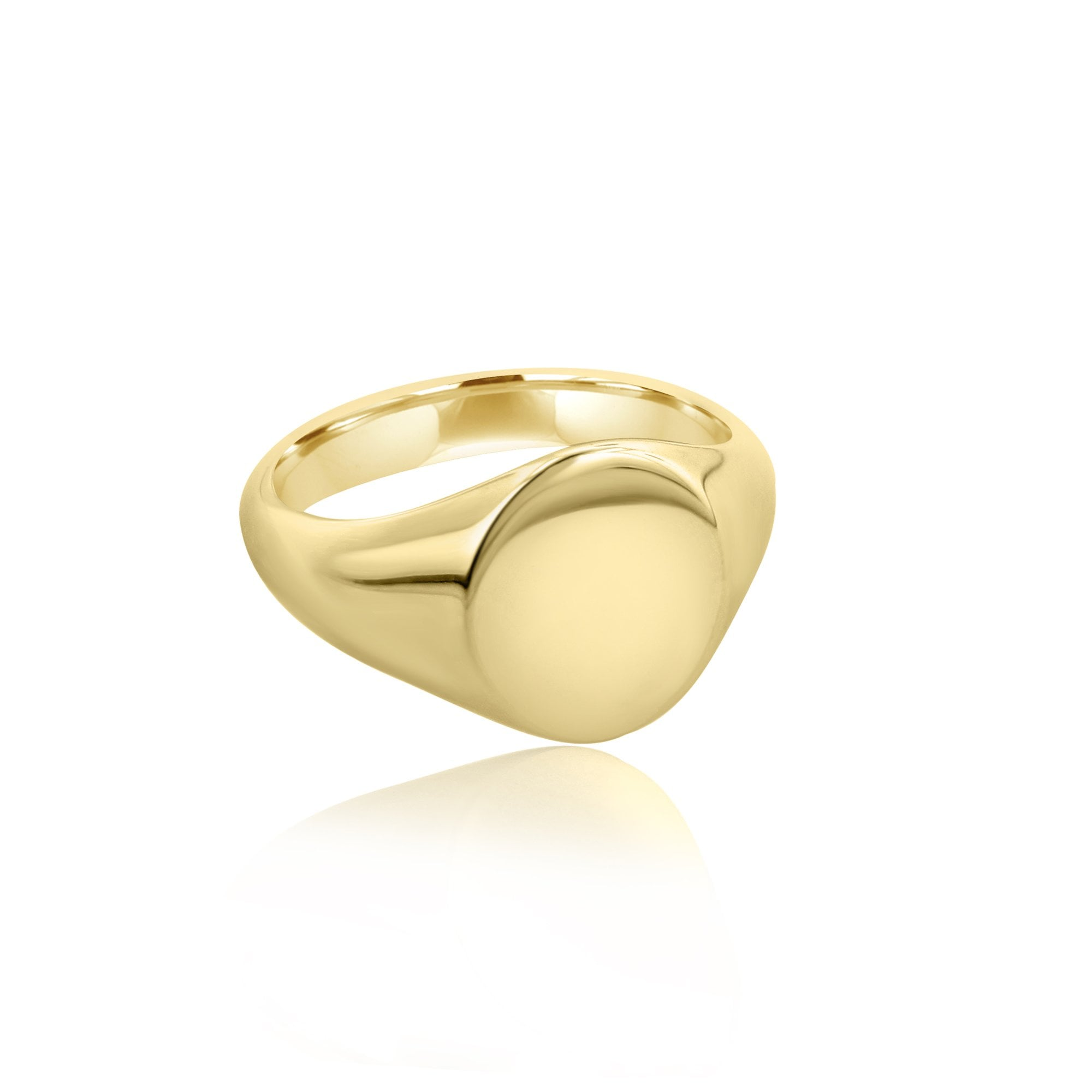 9ct Yellow Gold 14mm X 12mm Oval Top Signet Ring Mens From Avanti