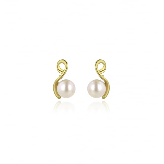 9ct Yellow Gold 6/6.5mm White Button Pearl Earrings