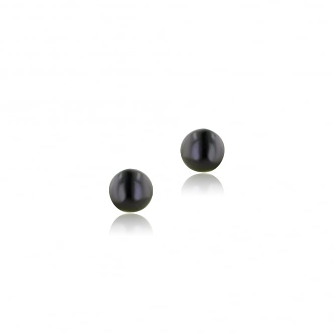 9ct Yellow Gold 6mm Black Freshwater Pearl Stud Earrings EYT31245