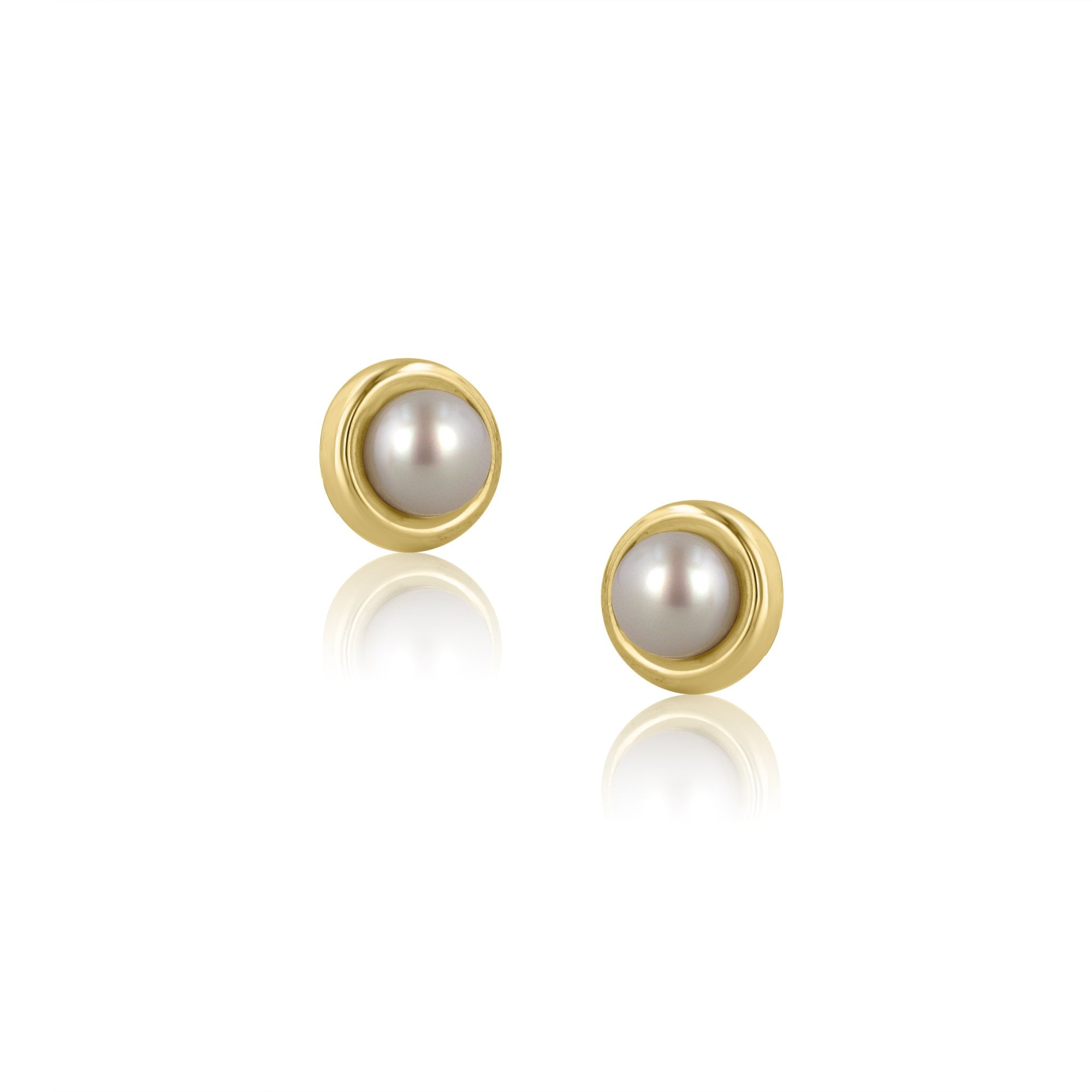 9ef559209 9ct Yellow Gold 6mm White Freshwater Pearl Stud Earrings - Womens from  Avanti of Ashbourne Ltd UK