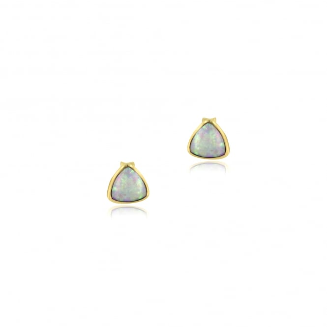 9ct Yellow Gold Curved Triangle Opal Stud Earrings