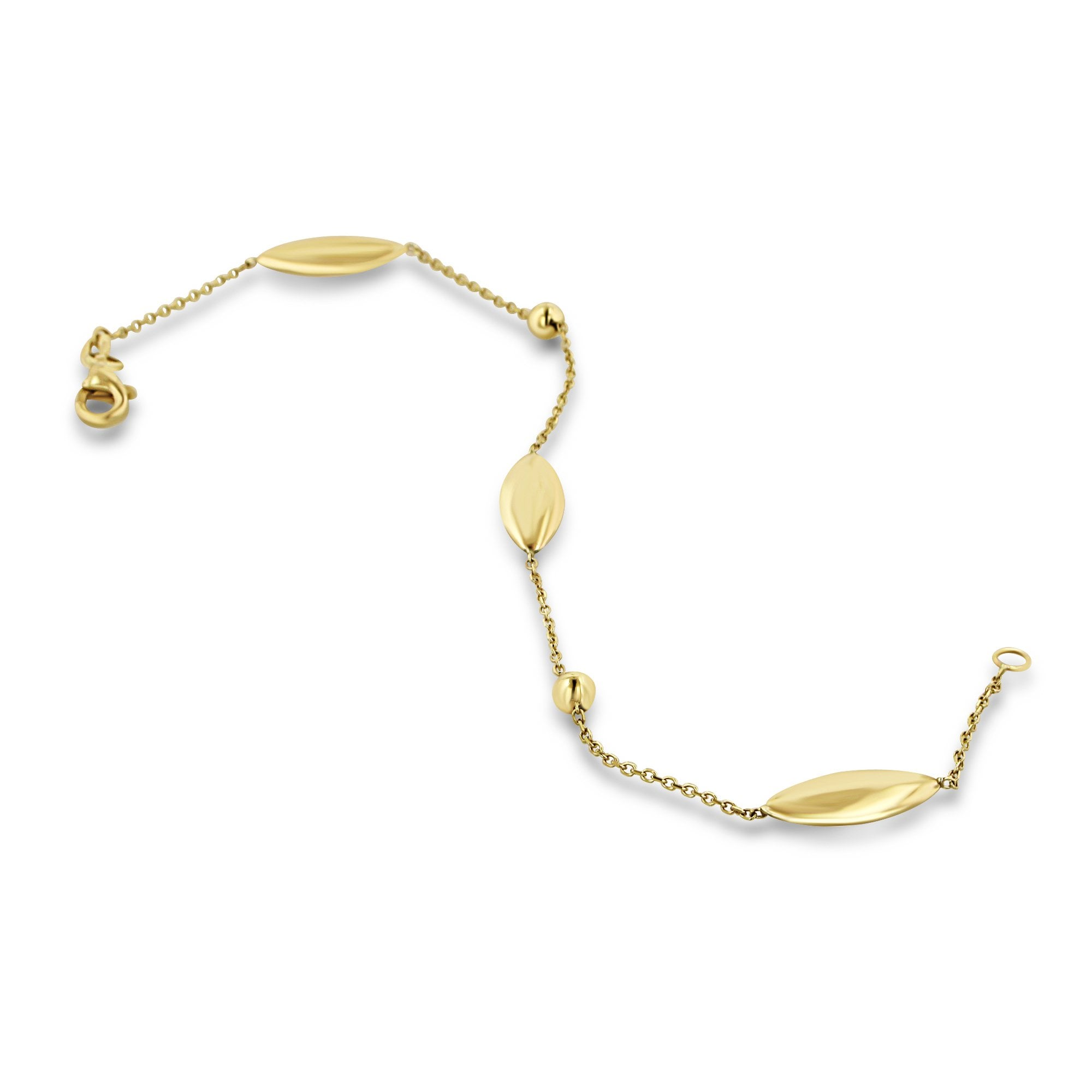 9ct Yellow Gold Delicate Chain And Link Bracelet Womens From