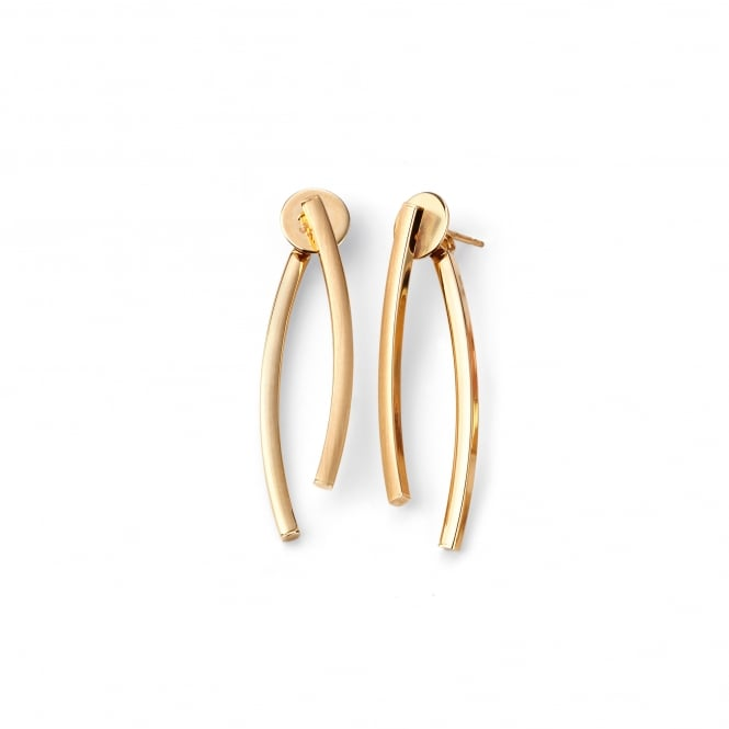 9ct Yellow Gold Double Stick Drop Earrings