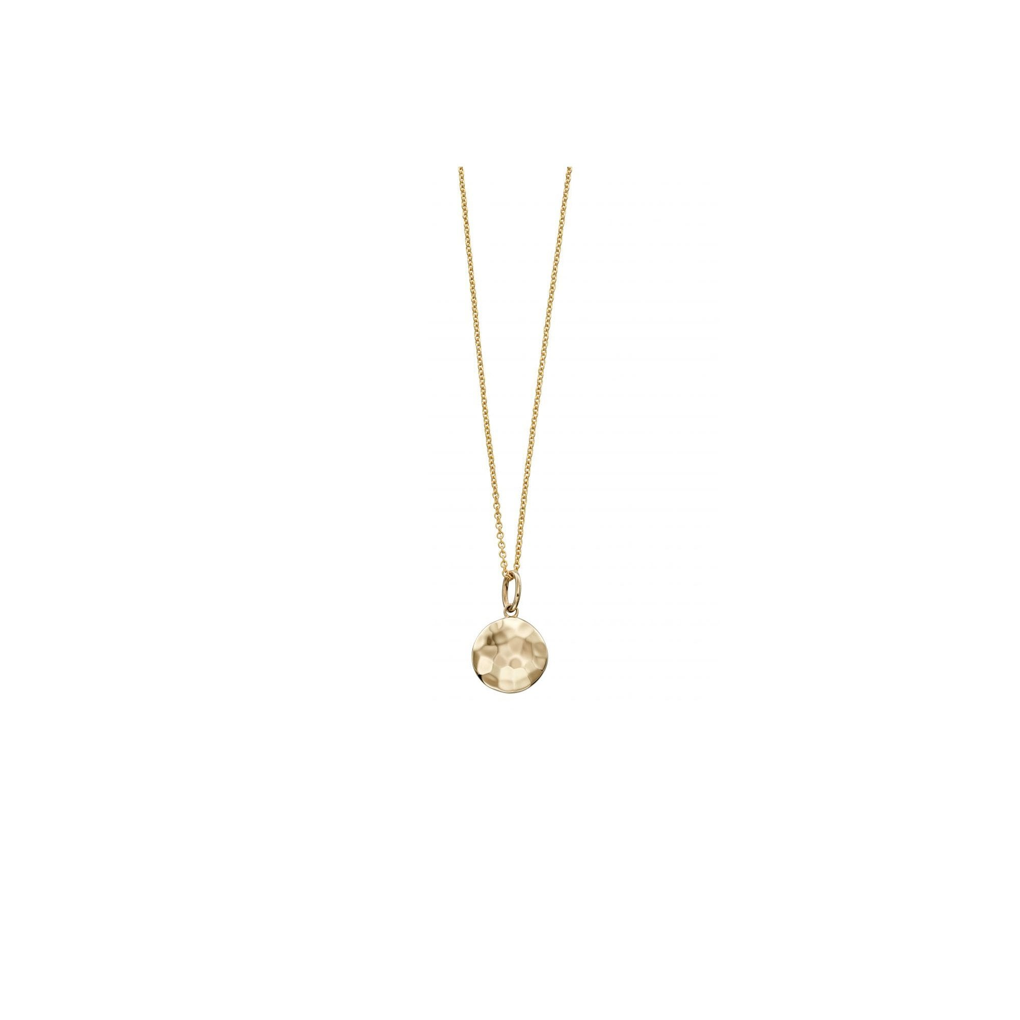 7061c98ec2b87 9ct Yellow Gold Hammered Round Domed Disc Pendant and Chain