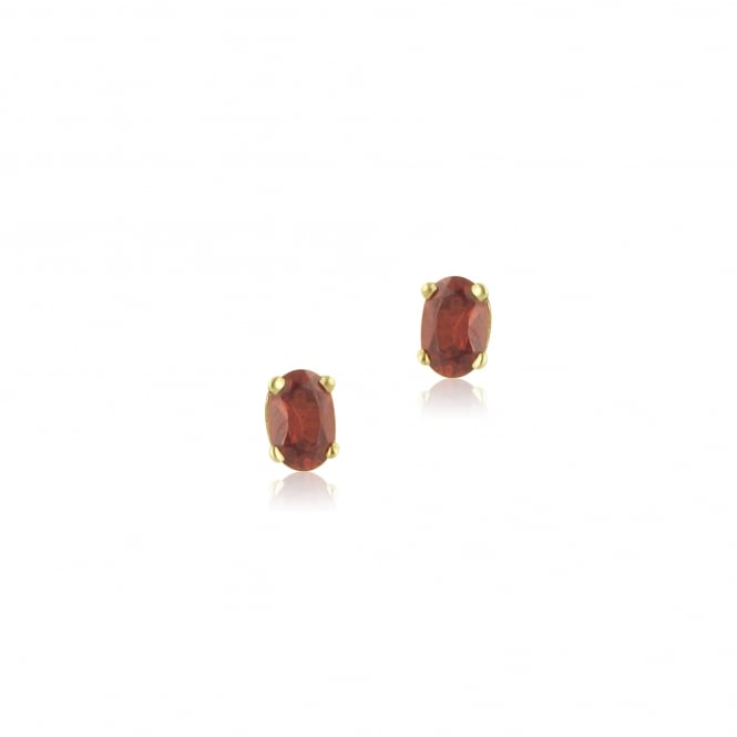 9ct Yellow Gold Oval Claw Set Garnet Stud Earrings EYT31269