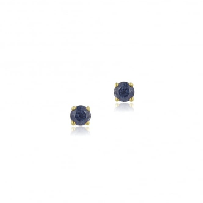 9ct Yellow Gold Round Blue Sapphire Studs