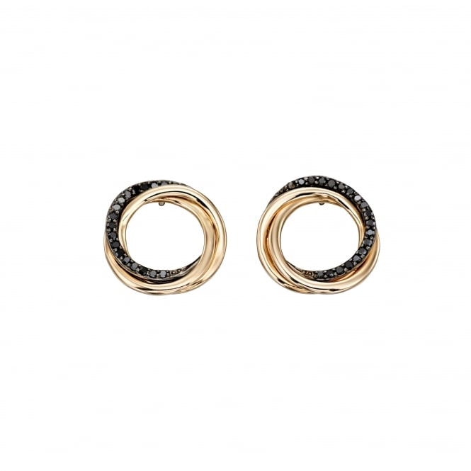 9ct Yellow Gold Triple Ring Stud Earrings With Black Diamonds