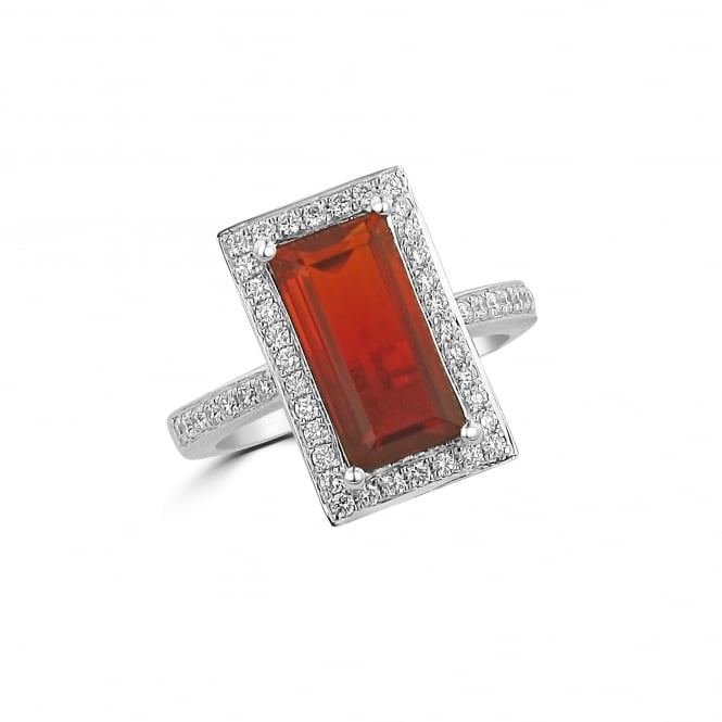 A one of a Kind 2.44ct Fire Opal Cluster Ring