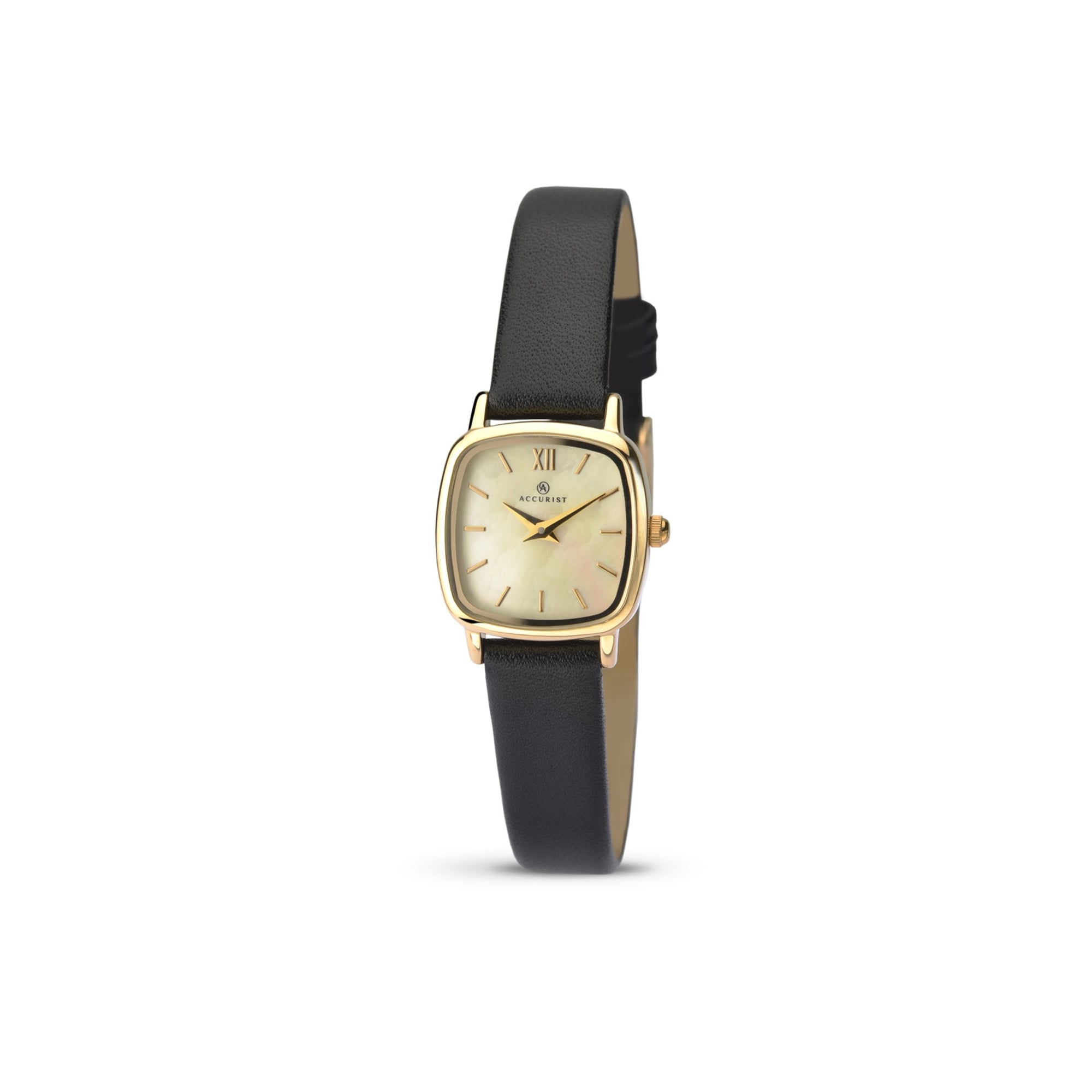 b3c50e452 Accurist Watches Womens Accurist Gold Plated Square Face Watch on Leather  Strap 8101
