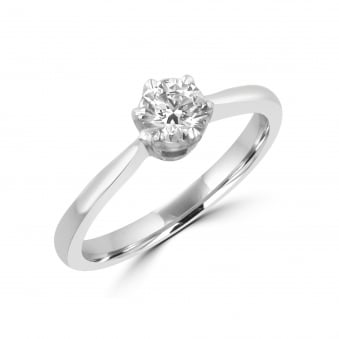 0.40ct Hearts and Arrows Round Diamond Engagement Ring