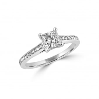 0.60ct Princess Diamond Engagement Ring With Diamond Band RPN3265