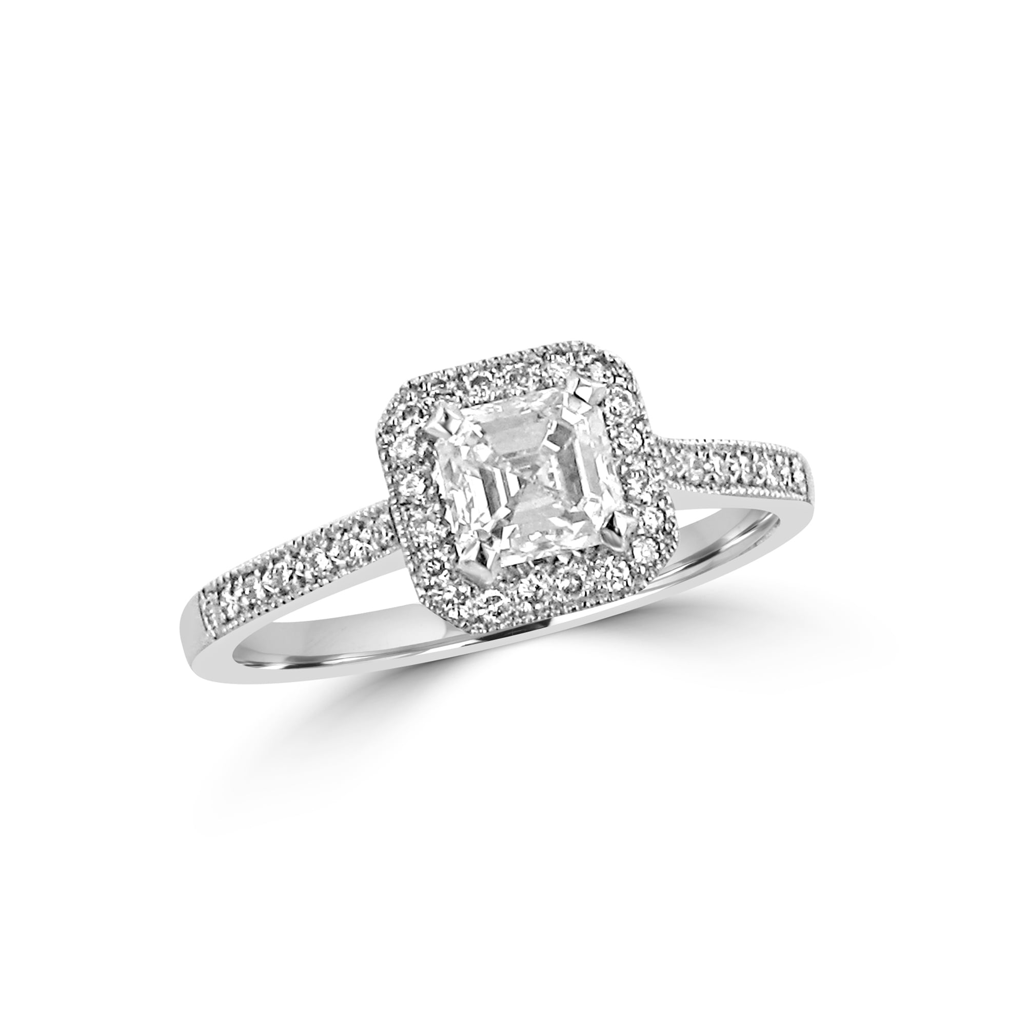 stone engagement asher rings platinum in asscher cut ring diamond h ct three