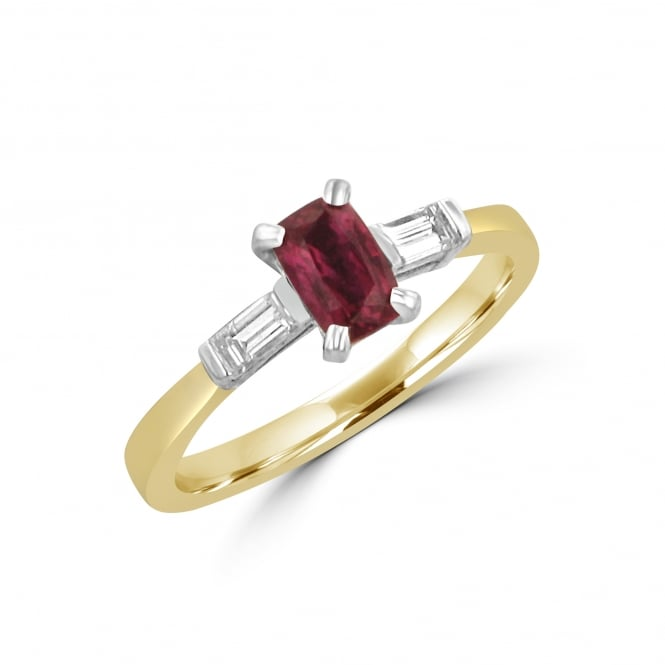 Avanti 0.63ct Ruby and Diamond Three Stone Ring