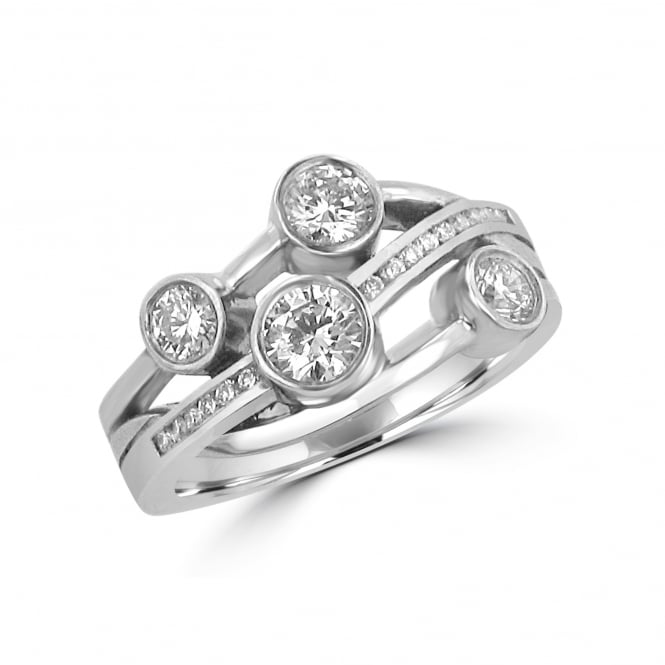 Avanti 0.70ct Cascata Diamond Crossover Bubble Ring