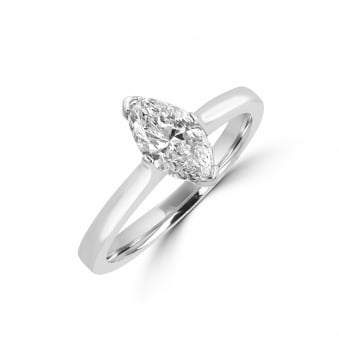0.70ct D Colour Marquise Cut Diamond Engagement Ring