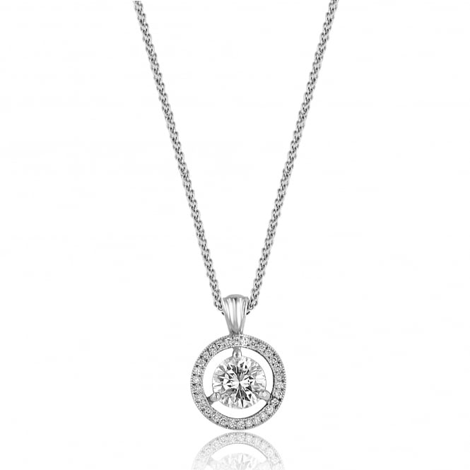 Avanti 0.72ct Round Diamond Halo Necklace PW3140 + CW30112