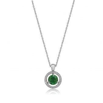 0.74ct Emerald and Diamond Halo Deco Necklace