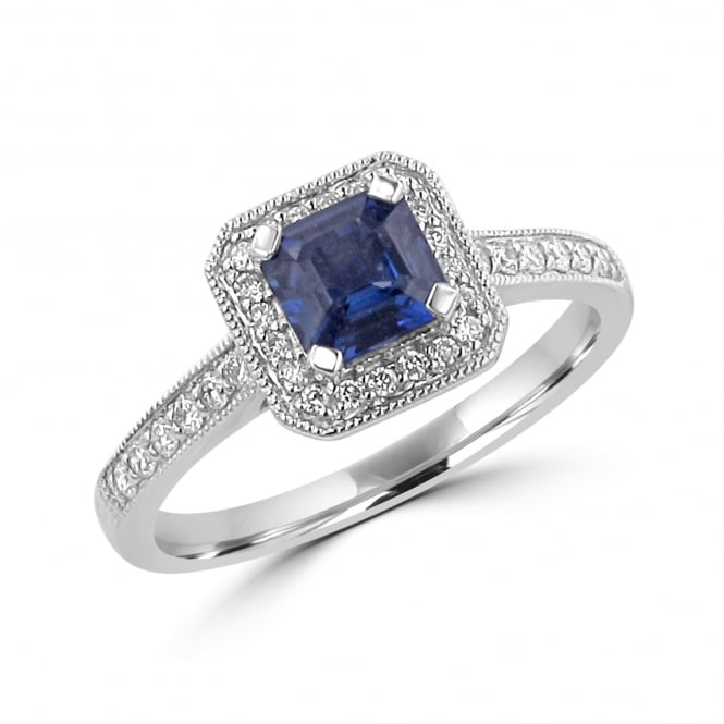 Avanti 0.75ct Sapphire and Diamond Deco Ring