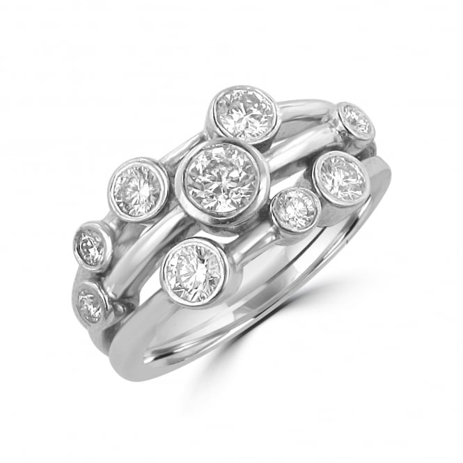 Avanti 1.01ct Cascata Triple Band Scattered Diamond Ring