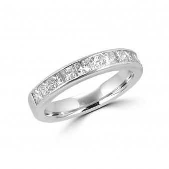 1.08ct Princess Cut Diamond Band Ring in 18ct White Gold RWT34358