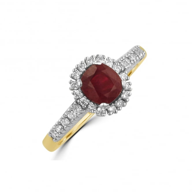 Avanti 1.22ct Oval Ruby and Diamond Cluster Ring