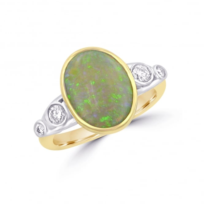 Avanti 1.47ct Opal and Diamond 18ct Gold Ring