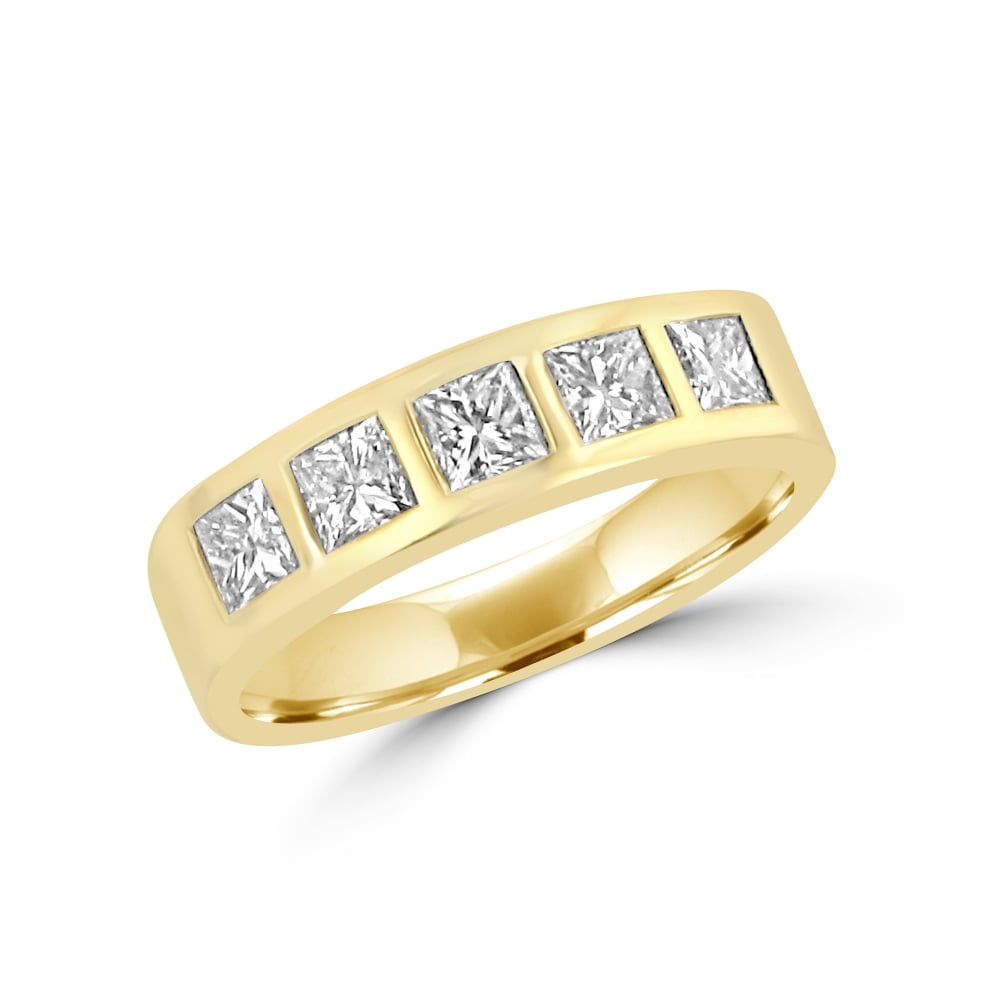 Scott Kay Platinum Five Diamond 0 18ct Wedding Band: Avanti 18ct Gold 0.81ct Princess Cut Diamond Five Stone