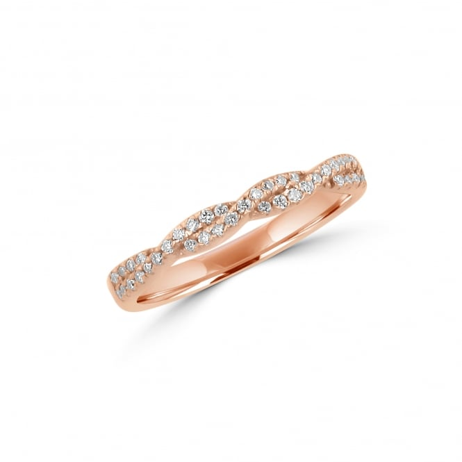 Avanti 18ct Rose Gold Twisted Diamond Wedding Ring