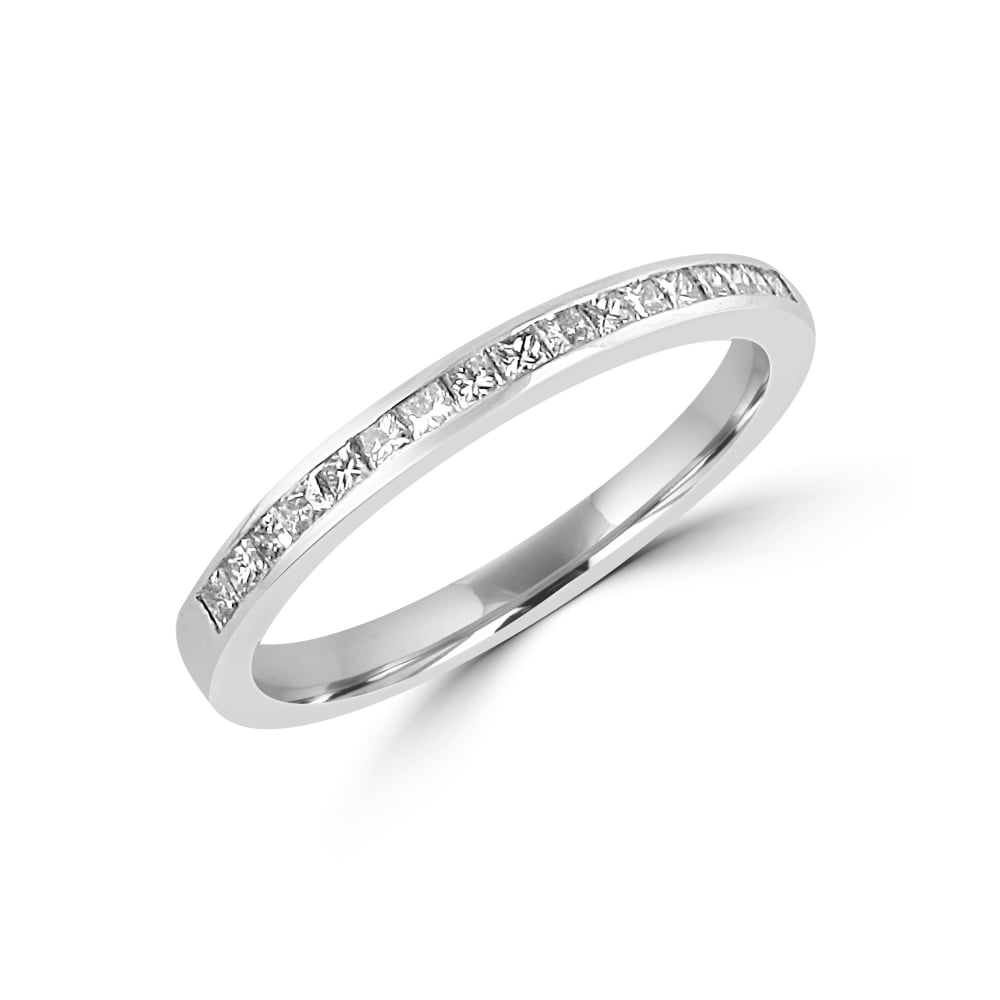 18ct White Gold 030ct Princess Cut Diamond Wedding Ring Rwt32346