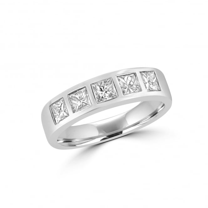 Avanti 18ct White Gold 0.72ct Princess Cut Diamond Five Stone Ring