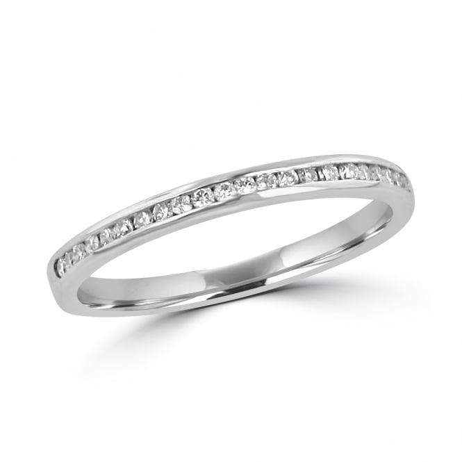 Avanti 18ct White Gold 2mm Diamond Set Band Ring