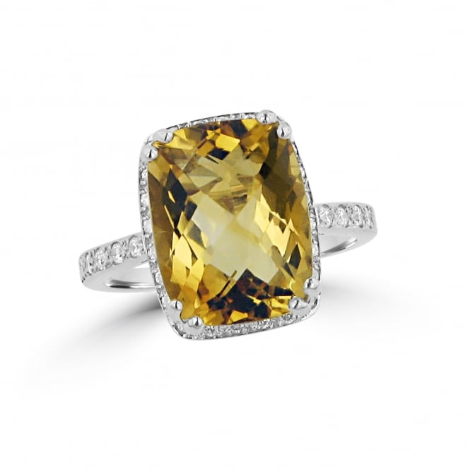 Avanti 18ct White Gold Citrine and Diamond Halo Cluster Ring