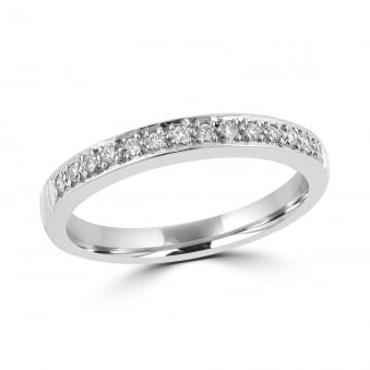 18ct White Gold Grain Diamond Set Band Ring RWT31150
