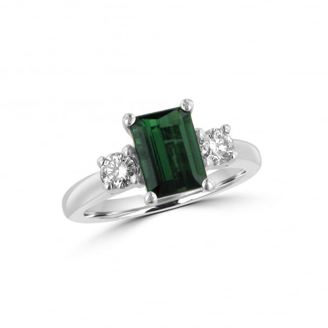 Avanti 18ct White Gold Green Tourmaline and Diamond Three Stone Ring RWD36246