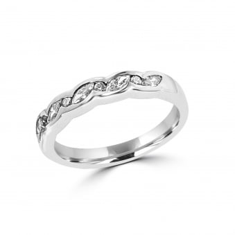 18ct White Gold Marquise and Diamond Band Ring RWT28166