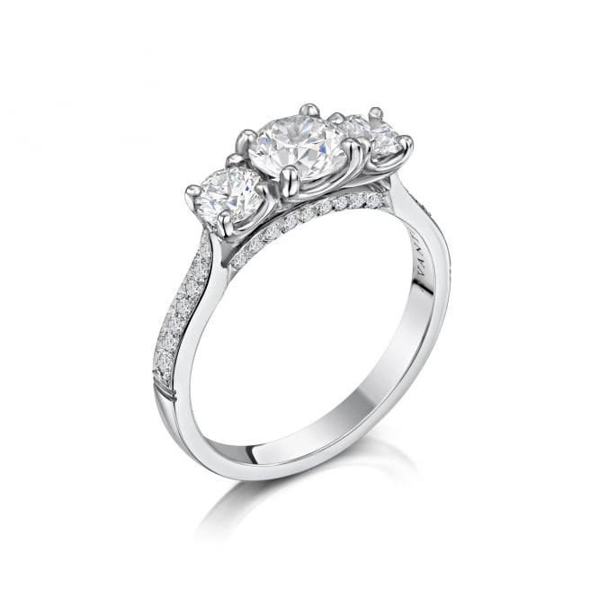 Avanti 18ct White Gold Three Stone Diamond Ring and Diamond Set Band RWD37394